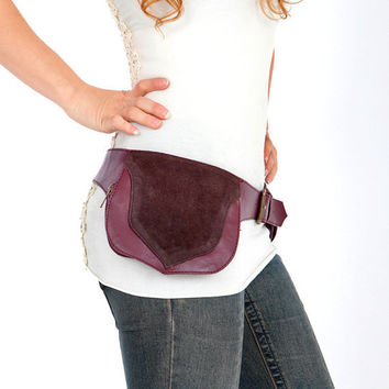 Eggplant leather bag for women festival wear by Shovavaleather