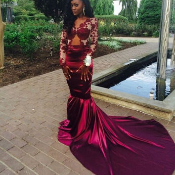 Prom  Dresses Vestido De Festa African Mermaid Burgundy Sexy Long Sleeves Lace Appliques 2017 Evening Custom Made Dress