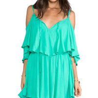 Indah Zhina Flounce Top Mini Dress With Interchangeable Top in Green