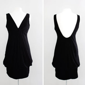 Vintage Velvet Cocktail Dress with Deep Plunge Neckline & Low Scoop Back - Little Black Dress - Size Small to Medium