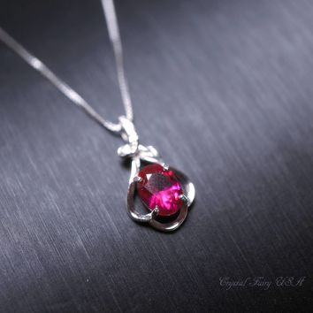 Tiny Sterling Silver Red Ruby Necklace Lab Ruby July Birthstone High Quality Solitaire Red Ruby CZ Necklace Flower  925 Silver Box Chain