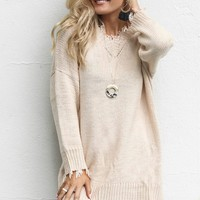 Big Talk Cream Shredded Sweater Dress