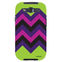Chevron Pattern Lime Green, Pink & Purple HIPSTER Unique Quality Soft Rubber TPU Case for Samsung Galaxy S3 SIII i9300 - White Case