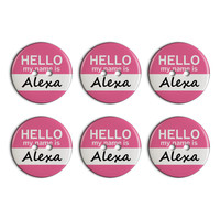 Alexa Hello My Name Is Plastic Resin Button Set of 6