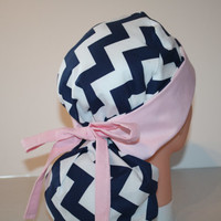Surgical Scrub Hat - Scrub Cap - Tie Back - Front Fold Ponytail Scrub Hat - Blue Chevron Pale Pink - 2nd item ships Free