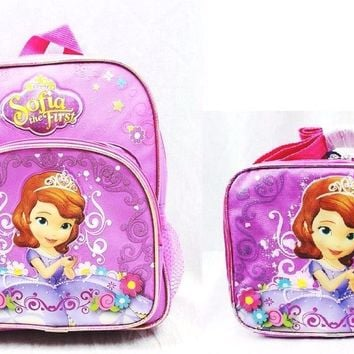 "Disney Sofia the First Girls 10"" Canvas Pink School Backpack with Lunch Bag"