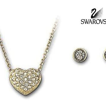 Swarovski Clear Crystal Goldtone HEART SET Necklace & Earrings #5030713