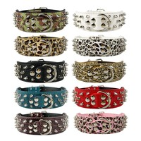 """2"""" Wide Studded Leather Dog Collars for Pitbull Boxer Mastiff German Shepherd S M L XL 6 Colors"""