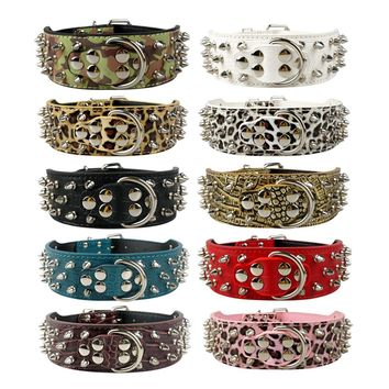 "2"" Wide Studded Leather Dog Collars for Pitbull Boxer Mastiff German Shepherd S M L XL 6 Colors"