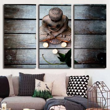 HD Printed 3 piece canvas art Zen Buddha meditation Buddhism religion Painting room decor poster zen monk garden ny-5789