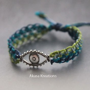 Adjustable Evil Eye Protection Macrame Hemp Bracelet Friendship Baby Blue Navy Blue Turquoise Green Spiritual Ward