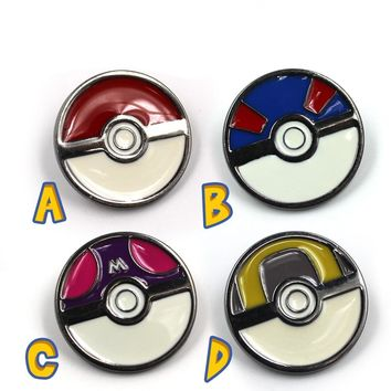 Game Pocket Monster  Poke Ball Gengar Circular Metal Badge Pin Brooch Chest Button Ornament Cosplay Collection Gift CoolKawaii Pokemon go  AT_89_9