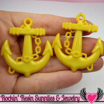 Yellow Anchor Pendant Sailing Nautical Charm (8 pieces) 45 x 39 mm