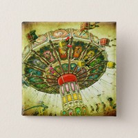 Vintage retro green sky carnival swing ride photo button