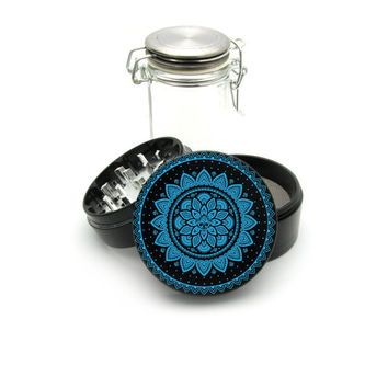 Mandala Blue Print Grinder, Color UV print on the Grinder FREE Glass Jar included! 4 Piece Herb Aluminum Black CNC Grinder 0079