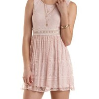 Crochet-Waist Lace Skater Dress by Charlotte Russe - Blush