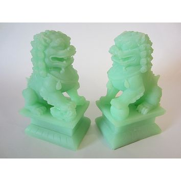 Asian Green Modern Foo Dogs Composite Bookends