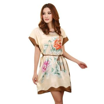 CREYET7 Women's Chinese Style Short Sleeve Silk Dress Loose Nightgown Bathrobe
