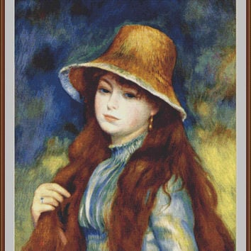 Girl in Straw Hat - Counted cross stitch pattern in PDF format