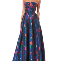 Carolina Herrera Strapless Bustier Floral-Print Evening Gown