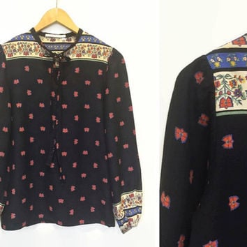 Hippy Top - Print Blouse - Peasant Blouse - Patterned Smock Tunic