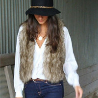 Soft Comfortable Sleeveless Faux Furry Womens Vest Waistcoat