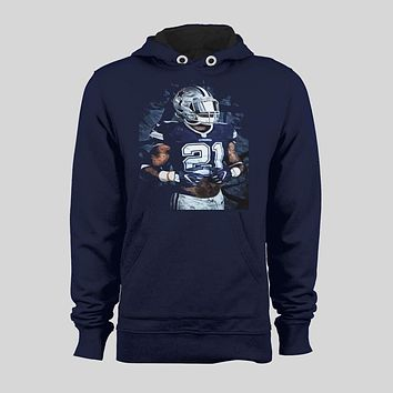 "EZEKIEL ELLIOTT OLDSKOOL CUSTOM PAINTING ""ZEKE"" DALLAS FOOTBALL HOODIE /SWEATER"