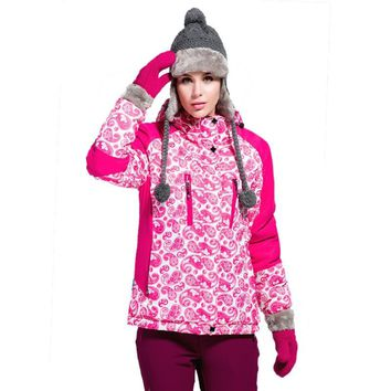 2018 new winter snowboard jacket women's wool hooded jacket outdoor sports suit ladies warm ski suit Thickened windproof coat