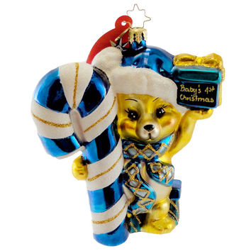 Christopher Radko Baby's First Christmas Boy Glass Ornament