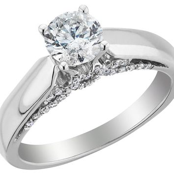 Diamond Solitaire Engagement Ring 1/2 Carat (ctw) in 10K White Gold