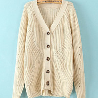 ROMWE V-neck Long Sleeves Cream Cardigan