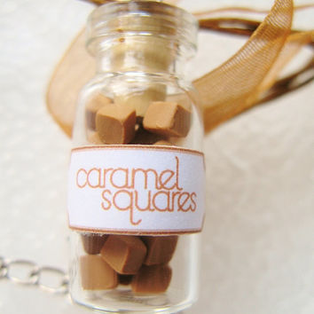 Caramel Squares Candy Jar Necklace - Nostalgic Miniature Glass Bottle Jewelry - Brown & White
