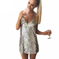 Silver Sequined Backless Women Party Dress