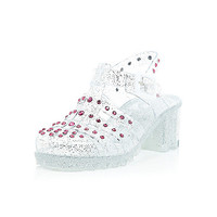 River Island Girls white glittery studded heel jelly shoes