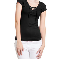 LE3NO Womens Slim Fit Ribbed Lace Up Front Short Sleeve Top with Stretch