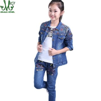 Trendy Girl Clothes 10 12 14 8 6 3 Years Denim Jacket + Jeans 2pcs Clothing For Girls Floral Baby Girl Spring Autumn Clothes Girls Suit AT_94_13