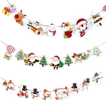 Christmas Wall Hanging Drop Ornaments Snowman/Socks/House/Santa Claus Flag Banner Pendant for Home Party Decor 2017