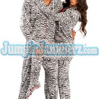 Zebra HD - Hooded Footed Pajamas - Pajamas Footie PJs Onesuit One Piece Adult Pajamas - JumpinJammerz.com