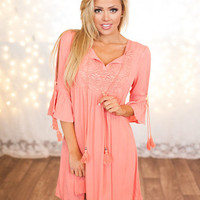 Full of Details Neon Coral Dress