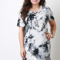Jersey Knit Tie Dye Short Sleeves T-Shirt Dress