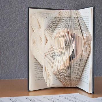 Treble/Bass Clef Heart-Folded Book Art- Book Lover-Music Lover-Home Decor