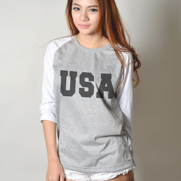 USA Shirt Baseball Shirt Tshirt Raglan Tee Long Sleeve Women T-Shirt