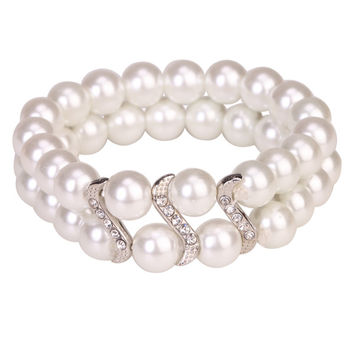 Bracelet Tribal Design Double Row Pearl White With Crystal Studs