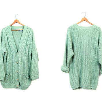 Chunky Knit Cardigan Sweater Button Up Pale Green Sweater POCKETS Cable Knit Thick Cotton Sweater Cosy Cozy Textured Knit Sweater Large XL