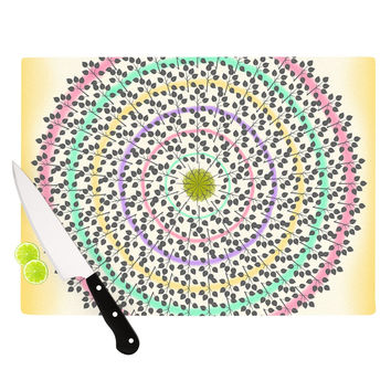 "Famenxt ""Leafy Watercolor Mandala"" Pastels Abstract Cutting Board"