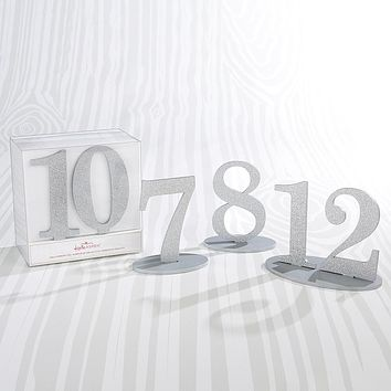 Silver Glitter Table Numbers (7-12)