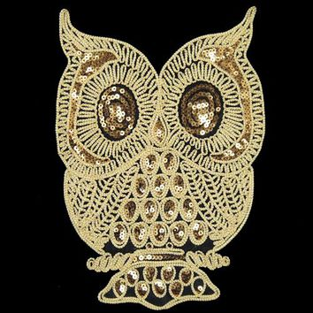 2pcs Large Owl Sequined sewing on Patches applique embroidery for clothing T-shirt Accessory Free Shipping