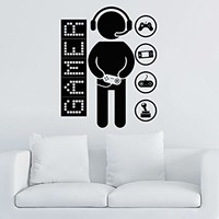 Gamer Wall Decal Vinyl Sticker Decals Game Controllers Gaming Video Game Boy Room Decor Bedroom Men Gift Nursery Dorm Gamer Gifts Decor ZX12