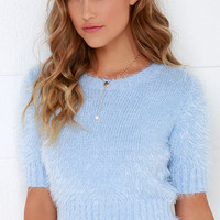 Glamorous Fluff Love Fuzzy Light Blue Crop Top