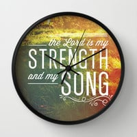 Exodus 15:2 Strength & Song Wall Clock by Pocket Fuel
